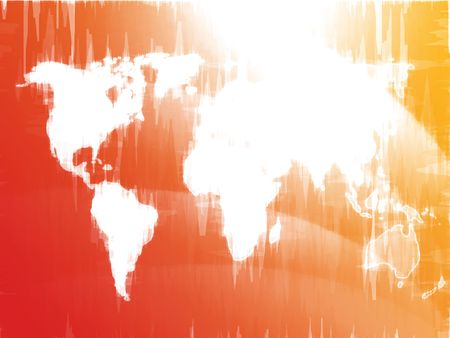 Map of the world illustration, glowing outline gradient colors illustration