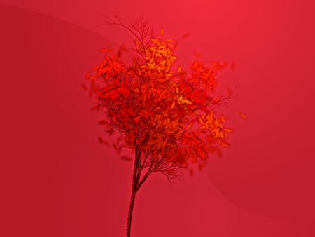 shedding: Autumn tree with falling leaves, abstract rendered illustration Stock Photo
