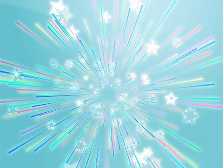 Central bursting explosion of dynamic flying stars, abstract illustration Stock Illustration - 3414208