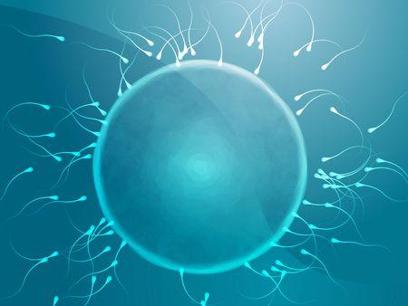 Illustratie van de menselijke eicellen worden bevrucht met sperma Stockfoto
