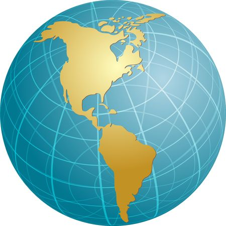 americas: Map of the Americas, on a globe, cartographical illustration