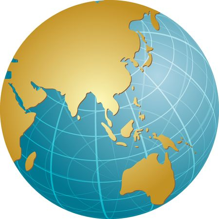 Map of the Asia, on a spherical globe, cartographical illustration Stock Illustration - 3414147