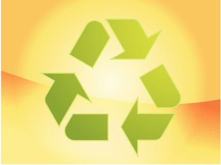 sustain: Recycling eco symbol illustration of three pointing arrows