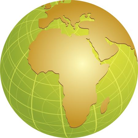 cartographical: Map of the Africa, on a spherical globe, cartographical illustration