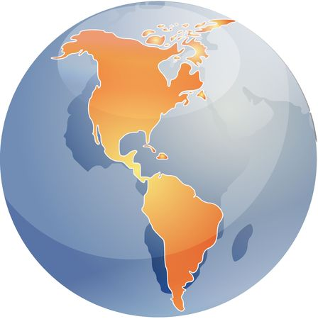 cartographical: Map of the Americas, on a sperhical globe, cartographical illustration