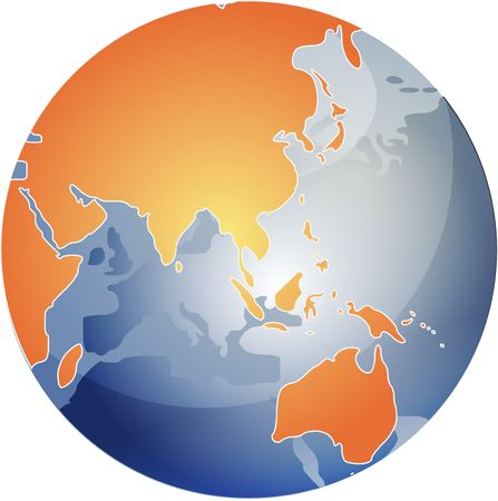 cartographical: Map of the Asia, on a spherical globe, cartographical illustration Stock Photo