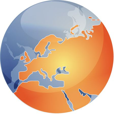 cartographical: Map of the Europe, on a spherical globe, cartographical illustration