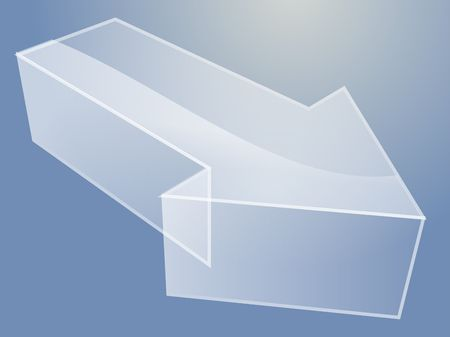 Illustration of a 3d translucent arrow pointing right