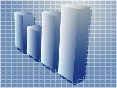 commissions: Three-d barchart financial diagram illustration over square grid Stock Photo