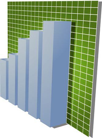 Three-d barchart and upwards line graph financial diagram illustration over square grid illustration