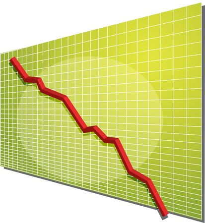 negativity: Financial line chart on grid background, going down
