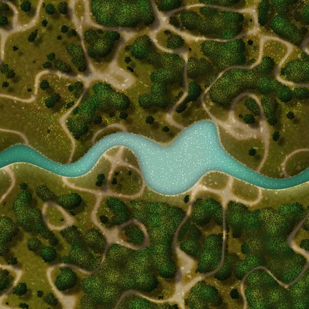 topdown: Illustration of overhead nature trails with forest and river