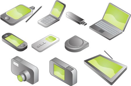 plaything: Illustration of various electronic gadgets in isometric format Stock Photo