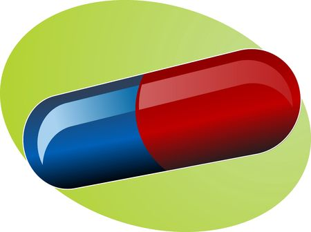 Illustration of medical pill, medicine capsule in blue and red illustration