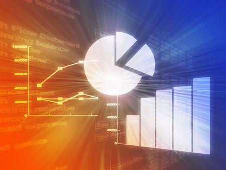 alerta: Ilustraci�n de datos de hojas de c�lculo y gr�ficos de negocios en brillante estilo wireframe