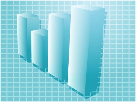 barchart: Three-d barchart financial diagram illustration over square grid Stock Photo