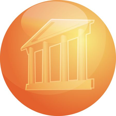 establishments: Illustration ofa grand building with pillars showing government finance or other establishments