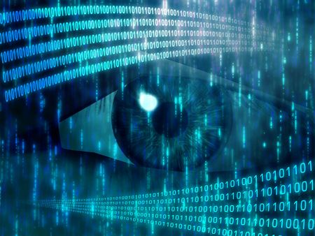 Eye viewing digital information represented by ones and zeros Stock Photo - 3464389