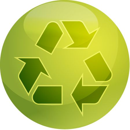 wastage: Recycling eco symbol illustration of three pointing arrows on a glossy sphere