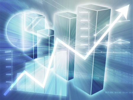 Illustration of Spreadsheet data and  charts in glowing wireframe style Stock Illustration - 3464370