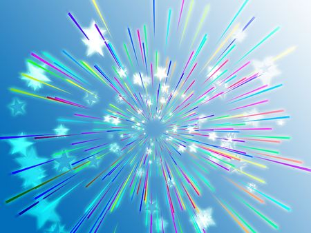 streaking: Central bursting explosion of dynamic flying stars, abstract illustration