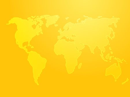 Map of the world illustration, simple outline on gradient color Stock Illustration - 3464410