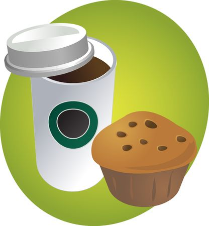 Coffe in disposable cup with muffin breakfast to go photo