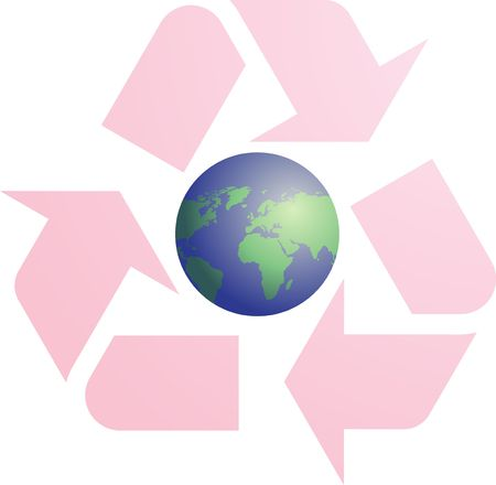 Recycling eco symbol illustration of three pointing arrows with world globe map illustration