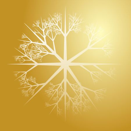 crystalline gold: Snowflake pattern design abstract illustration on gradient Stock Photo