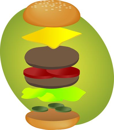junkfood: Hamburger illustration, breakdown into sections, fastfood diagram