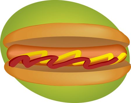 weiner: Hot illustration, sausage between buns with ketchup and mustard