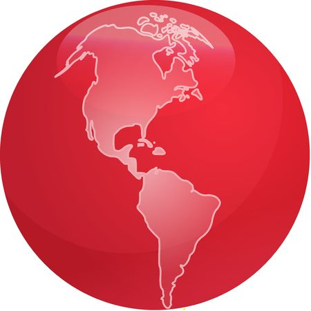 americas: Map of the Americas on a glossy sphere Stock Photo