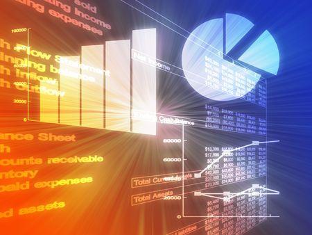 Illustratie van Spreadsheet zakelijke gegevens en grafieken in gloeiende wireframe stijl