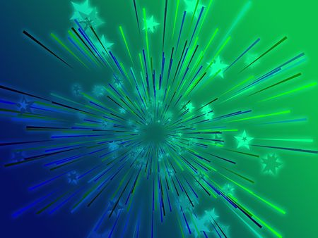 Central bursting explosion of dynamic flying stars, abstract illustration Stock Illustration - 3529853