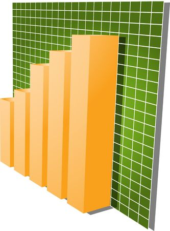 Tres-d barras y gráfico lineal hacia arriba financiera diagrama ilustración más de cuadrícula Foto de archivo - 3529937