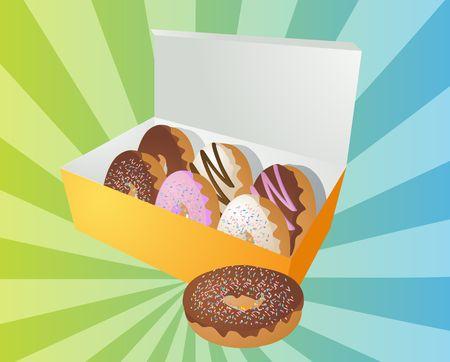 sweetened: Box of assorted donuts illustration on radial burst
