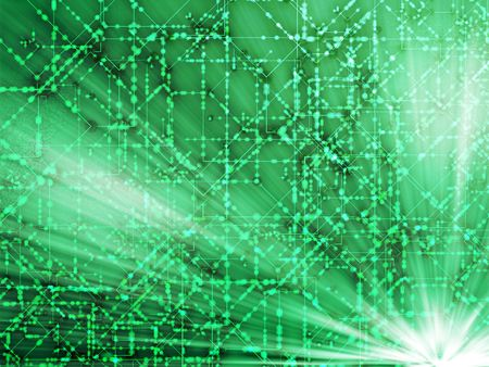 nexus: Abstract illustration of technical data nodes and flows Stock Photo