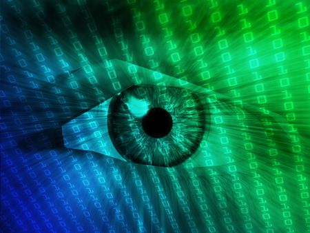 Electronic eye with glowing energy effects, digital illustration Stock Illustration - 3530125