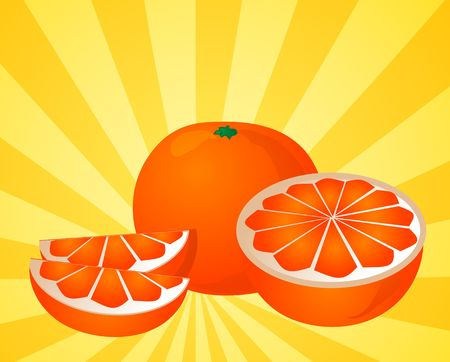 halved: Orange fruit, whole, halved, and sliced into sections, illustration