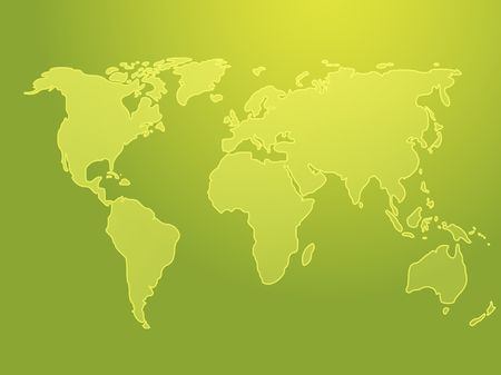 Map of the world illustration, simple outline on gradient color Stock Illustration - 3530026