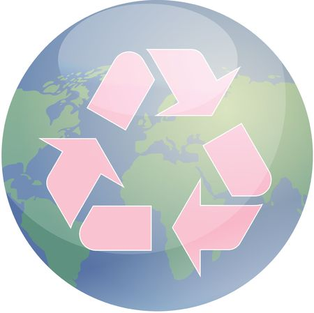 wastage: Recycling eco symbol illustration of three pointing arrows over world globe map