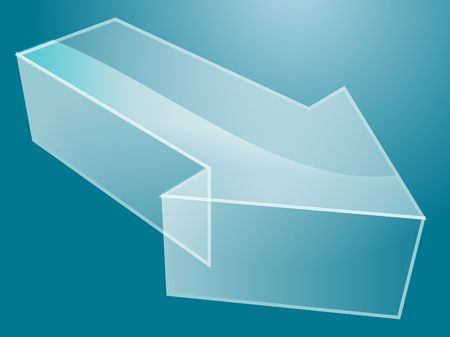 right angled: Illustration of a 3d translucent arrow pointing right