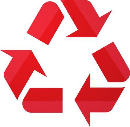 Recycling eco symbol illustration of three pointing arrows illustration