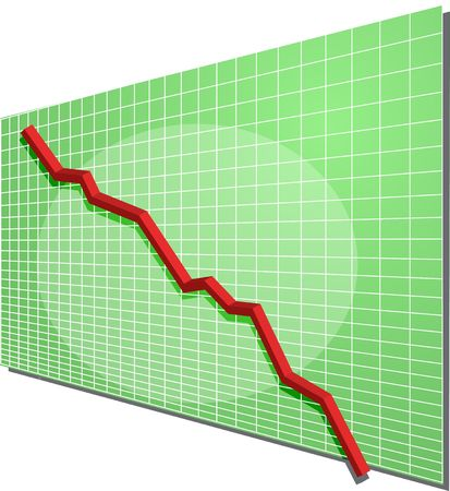 Financial line chart on grid background, going down photo