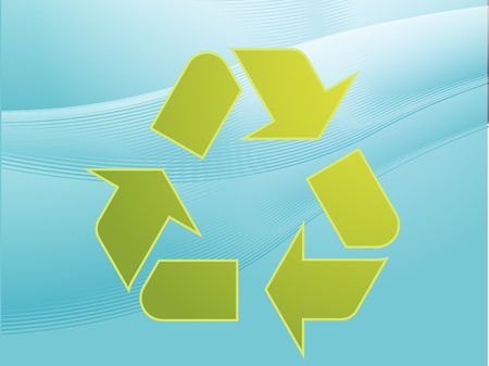 sustain: Recycling eco symbol illustration of three pointing arrows on abstract design