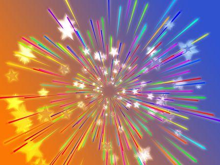 Central bursting explosion of dynamic flying stars, abstract illustration Stock Illustration - 3637734