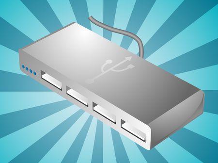 computer peripheral: Computer USB hub peripheral hardware device illustration