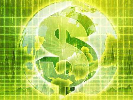americas: US Dollar symbol over globe of americas