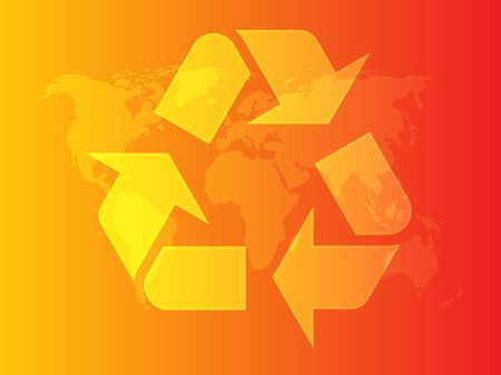 wastage: Recycling eco symbol illustration of three pointing arrows on abstract design