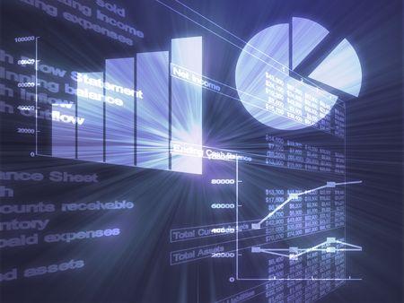 Ilustración de datos de hojas de cálculo y gráficos de negocios en estilo brillante alambre